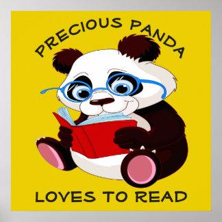 Póster Amores preciosos de la panda a leer