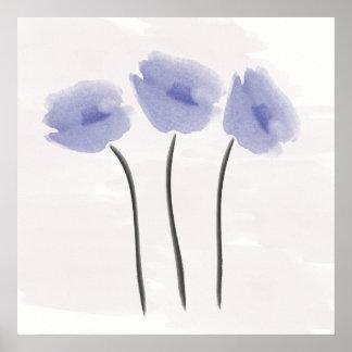 Póster Anémona abstracta del azul de la acuarela