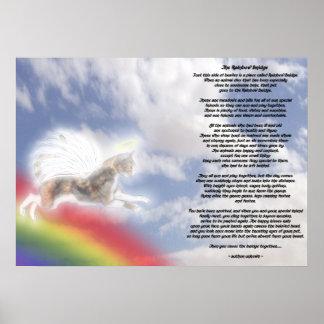 Póster Ángel del gato en el puente del arco iris