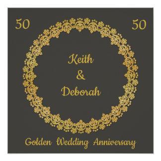Póster Aniversario de boda de oro adaptable