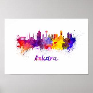 Póster Ankara skyline in watercolor