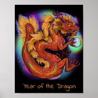 Póster Año chino del zodiaco del dragón
