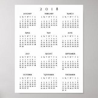 Póster Años Nuevos de 2018 del calendario de oficina