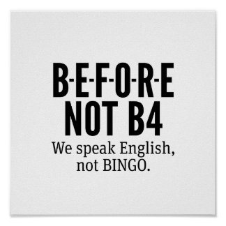 Póster ANTES NO de B4 - hable el bingo del inglés no