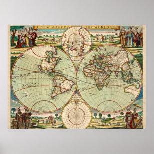 Póster Antiguo mapa general de época del mundo