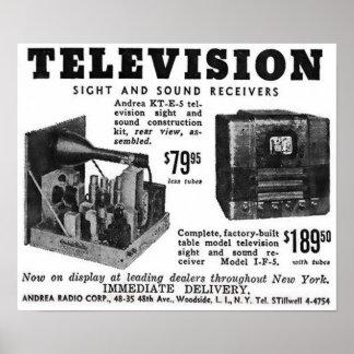 Póster Anuncio de la televisión del vintage