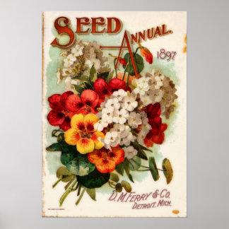 Póster Anuncio del catálogo de la flor del vintage del