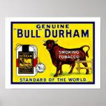 Póster Anuncio del tabaco de Bull Durham de los 1890s del
