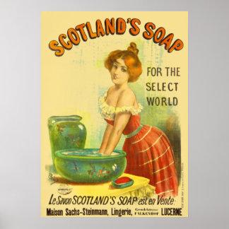 Póster Anuncio del vintage del jabón de Escocia
