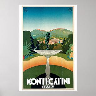 Póster Anuncio italiano del viaje de Montecatini del