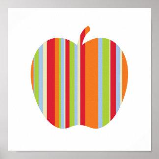 Póster Apple moderno con rojo y el naranja raya el poster