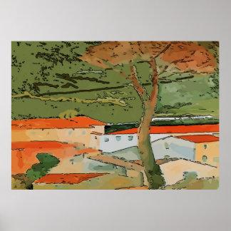 Póster Árbol de Brandywine, tejados abstractos