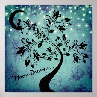 Póster Árbol encantador del chica y de la flor de sueños
