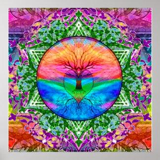 Póster Árbol que calma de la vida en colores del arco