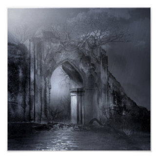 Póster Arcada gótica oscura de las ruinas