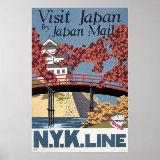 Póster Arces rojos y templo del ferrocarril de Japón de