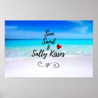 Póster Arena de Sun y playa tropical de los besos salados