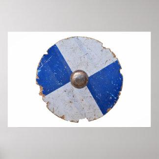 Póster armadura metalizado de madera medieval del