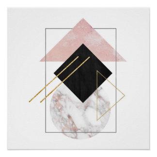 Póster Arte abstracto mínimo con color de rosa de mármol