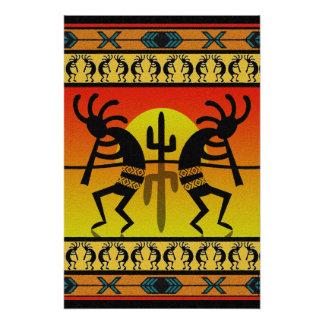 Póster Arte tribal de la pared de Kokopelli del baile