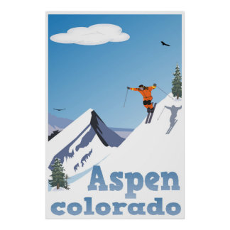 Póster Aspen, Colorado, montaña rocosa, poster del esquí