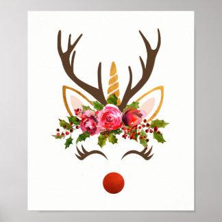 Póster Asta del reno del unicornio/flores del navidad