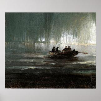 Póster Aurora boreal de Peder Balke sobre el bote de