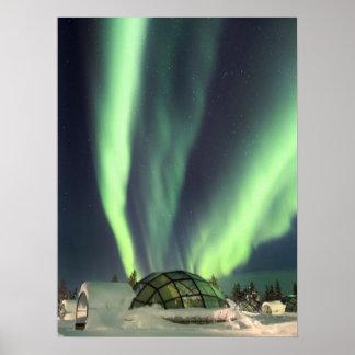 Póster Aurora boreal sobre Finlandia