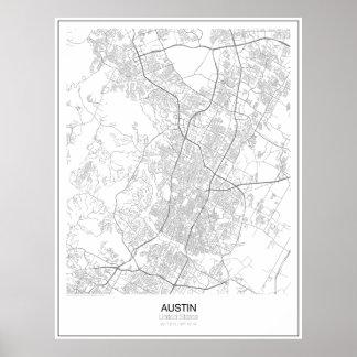 Póster Austin, poster minimalista del mapa de Estados