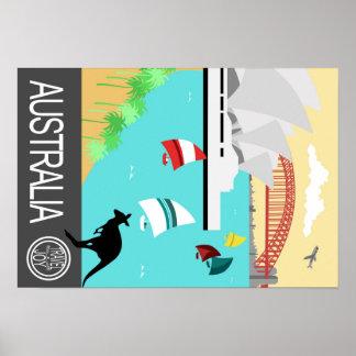 Poster Australia del viaje del vintage Póster