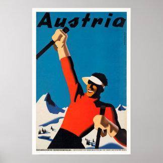 Póster Austria, poster del vintage del viaje del