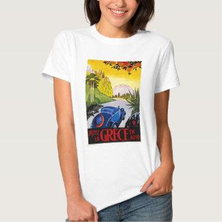 Poster auto del viaje del vintage del En de Grece Camisas