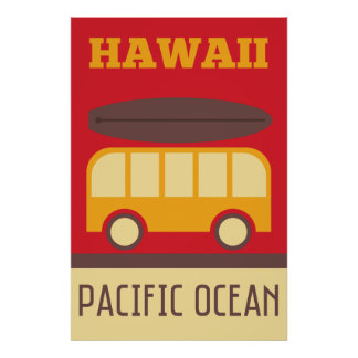 Póster Autobús que practica surf hawaiano