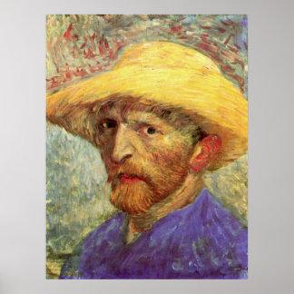 Póster Autorretrato con el gorra de paja de Vincent van