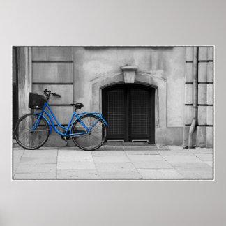 Poster azul de la bicicleta póster