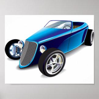 Poster azul del coche de carreras póster