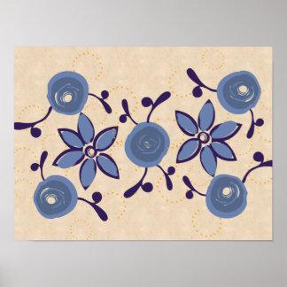 Poster azul del lino de los rosas de la acuarela póster