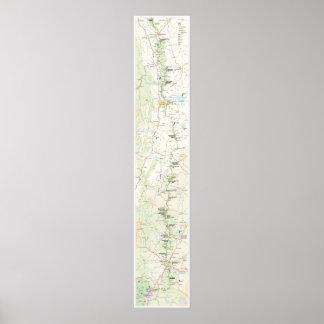 Poster azul del mapa de la ruta verde de Ridge Póster