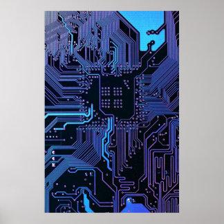 Poster azul fresco de la placa de circuito del póster