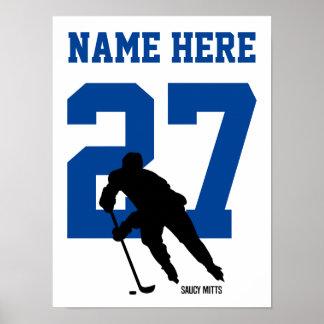 Póster Azul personalizado del número del jugador de