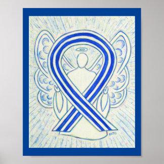 Poster azul y blanco del ángel de la cinta de la póster