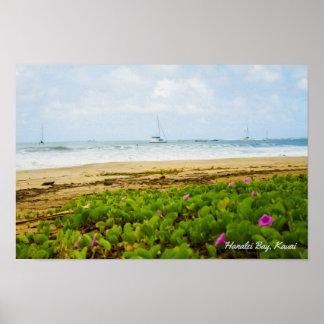 Póster Bahía de Hanalei • Kauai Hawaii • Escena de la