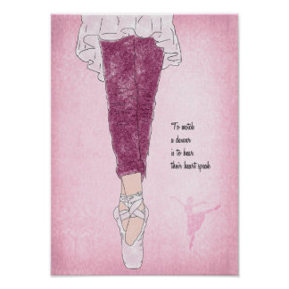 Póster Bailarín de la bailarina en Pointe en rosa