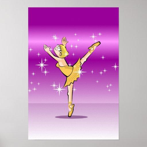 Póster Bailarina de Ballet bailando con fantástica gracia
