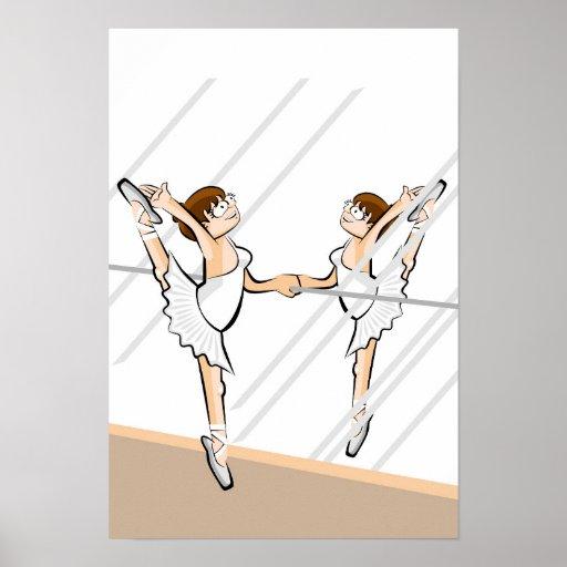 Póster Bailarina de Ballet  en la barra frente al espejo