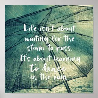 Póster Baile de la vida en la cita de la lluvia