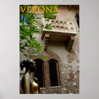 Póster balcón Verona Italia del juliet y de los juliet