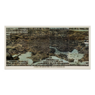 Póster Baltimore, mapa panorámico del MD - 1870