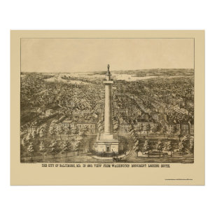 Póster Baltimore, mapa panorámico del MD - 1880