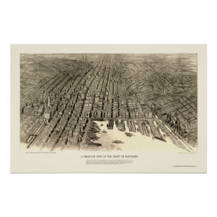 Póster Baltimore, mapa panorámico del MD - 1912